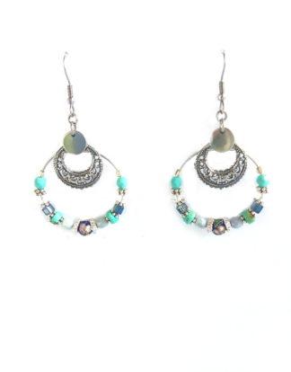 Boucles d'oreilles créoles turquoises